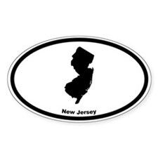 New Jersey State Outline Oval Decal