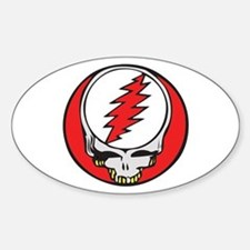 Skull with Red Lightning Bolt Oval Decal