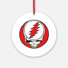 Skull with Red Lightning Bolt Ornament (Round)