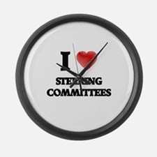I love Steering Committees Large Wall Clock