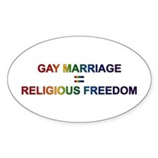 Gay Religious Freedom Oval Decal