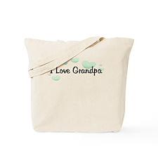 Love Grandpa Green Hearts Tote Bag