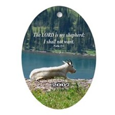 """My Shepherd"" Mtn Goat Inspiring Ornament w/year"