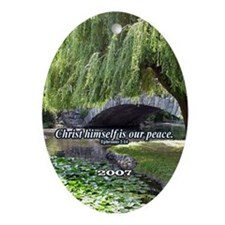 """""""Our Peace"""" Inspirational Ornament w/year."""