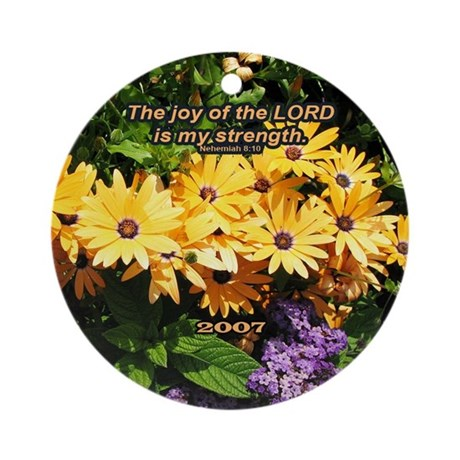 """My Joy"" Flowers Inspirational Ornament with Year"