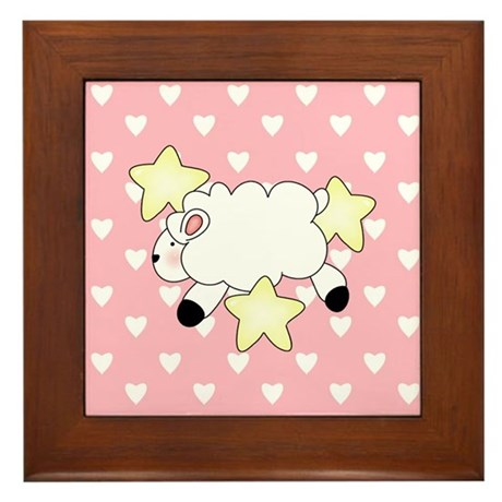 Lamb on Pink Hearts Framed Tile