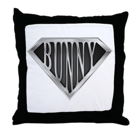 SuperBunny(metal) Throw Pillow