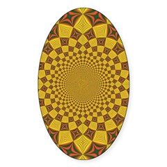 Red & Gold Dance Fractal Oval Decal