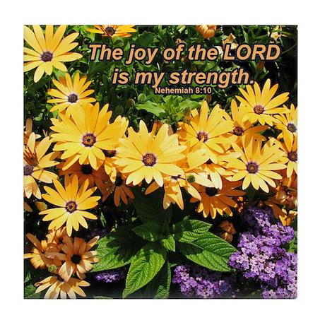 """My Joy"" Flower Inspirational Tile Coaster"