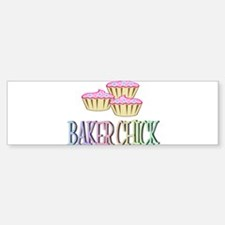 BAKER CHICK PINK CUPCAKE Bumper Car Car Sticker