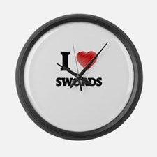 I love Swords Large Wall Clock