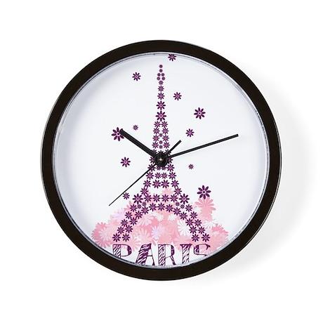 Flower Eiffel 01 Wall Clock
