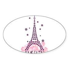 Flower Eiffel 01 Oval Decal