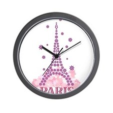 Flower Eiffel 03 Wall Clock