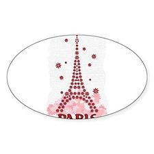 Flower Eiffel 10 Oval Decal
