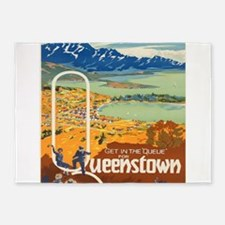 Vintage poster - New Zealand 5'x7'Area Rug