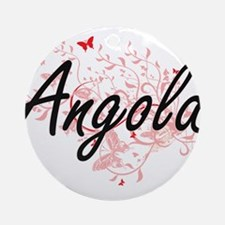 Angola Artistic Design with Butterf Round Ornament