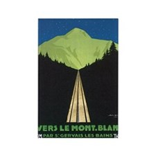 Vintage Vers Le Mont. Blanc P Rectangle Magnet