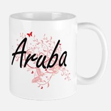 Aruba Artistic Design with Butterflies Mugs