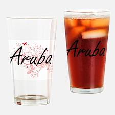 Aruba Artistic Design with Butterfl Drinking Glass