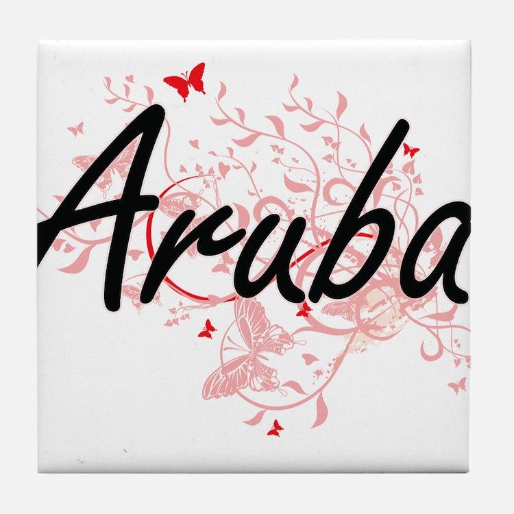 Aruba Artistic Design with Butterflie Tile Coaster