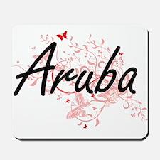 Aruba Artistic Design with Butterflies Mousepad