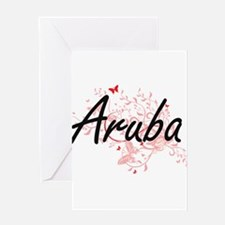 Aruba Artistic Design with Butterfl Greeting Cards
