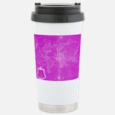 Unique Pink world map Travel Mug