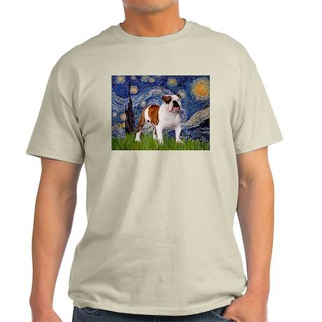 Starry Night English Bulldog Ash Grey T-Shirt