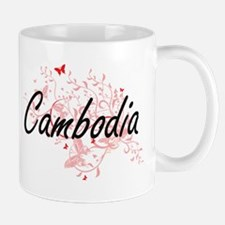 Cambodia Artistic Design with Butterflies Mugs
