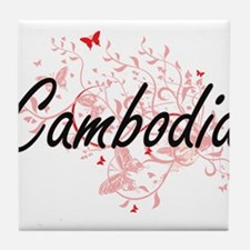 Cambodia Artistic Design with Butterf Tile Coaster