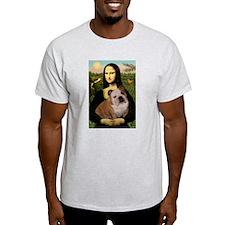 Mona Lisa & English Bulldog Ash Grey T-Shirt