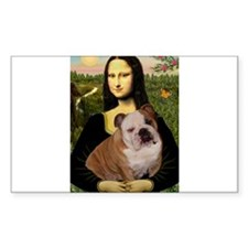 Mona Lisa & English Bulldog Rectangle Decal