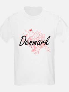 Denmark Artistic Design with Butterflies T-Shirt