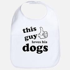 This guy loves dogs Bib