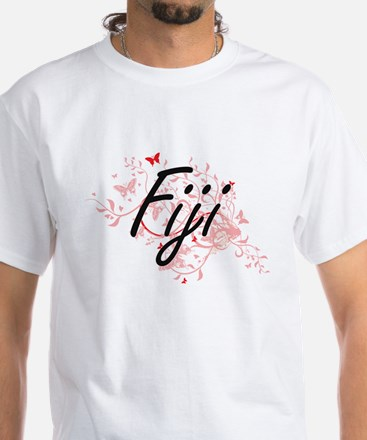 Fiji Artistic Design with Butterflies T-Shirt