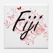 Fiji Artistic Design with Butterflies Tile Coaster