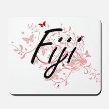 Fiji Artistic Design with Butterflies Mousepad