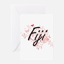 Fiji Artistic Design with Butterfli Greeting Cards