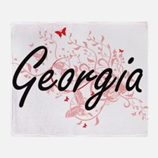 Georgia Artistic Design with Butterf Throw Blanket
