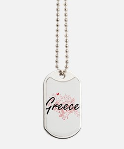 Greece Artistic Design with Butterflies Dog Tags