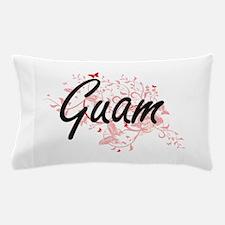 Guam Artistic Design with Butterflies Pillow Case