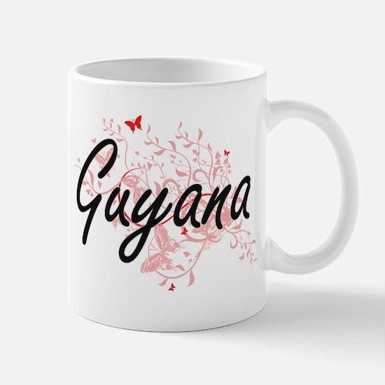 Guyana Artistic Design with Butterflies Mugs