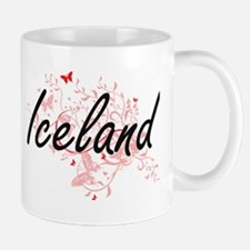 Iceland Artistic Design with Butterflies Mugs