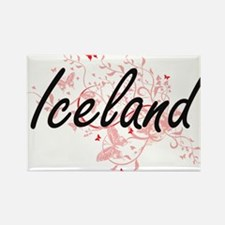 Iceland Artistic Design with Butterflies Magnets