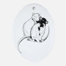 Rat Hug Oval Ornament