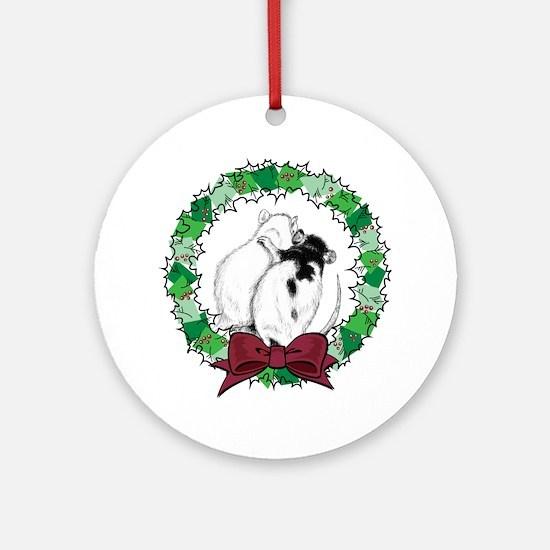 Rat Hug Wreath Ornament (Round)