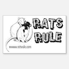Rats Rule Rat Hug Rectangle Decal
