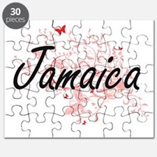 Jamaica Artistic Design with Butterflies Puzzle