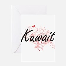 Kuwait Artistic Design with Butterf Greeting Cards